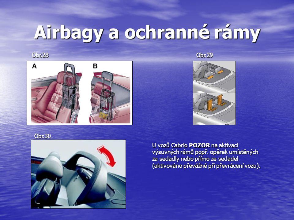 Airbagy a ochranné rámy U vozů Cabrio POZOR na aktivaci výsuvných rámů popř.