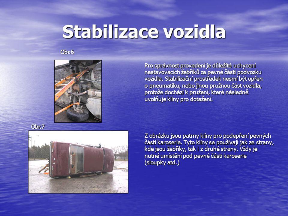 Stabilizace vozidla Pro správnost provedení je důležité uchycení nastavovacích žebříků za pevné části podvozku vozidla.
