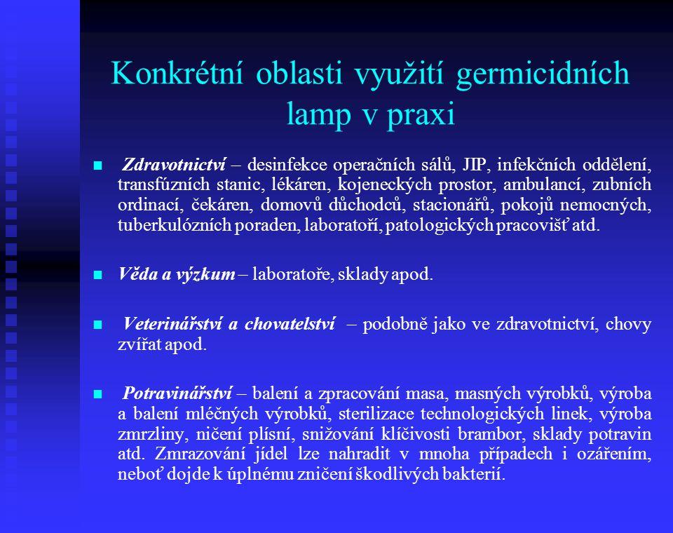Konkrétní oblasti využití germicidních lamp v praxi Zdravotnictví – desinfekce operačních sálů, JIP, infekčních oddělení, transfúzních stanic, lékáren