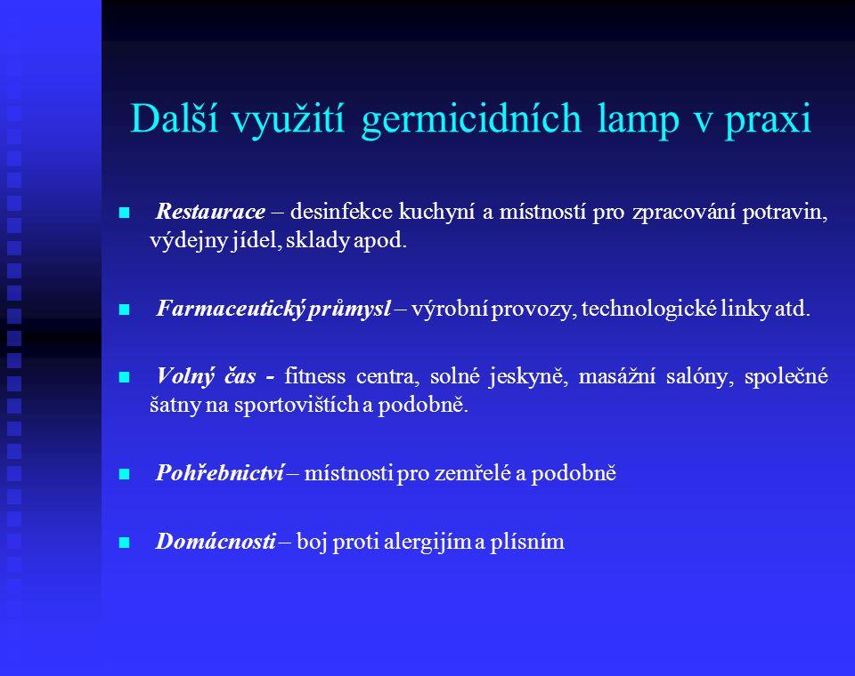 Další využití germicidních lamp v praxi Restaurace – desinfekce kuchyní a místností pro zpracování potravin, výdejny jídel, sklady apod. Farmaceutický