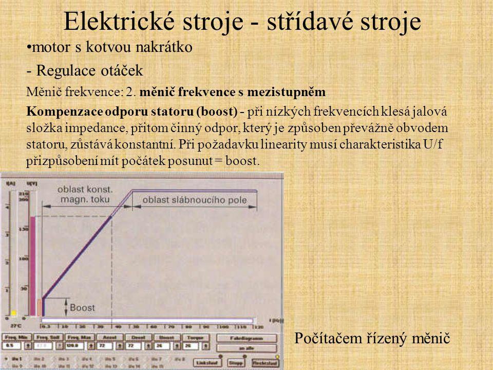 Elektrické stroje - střídavé stroje motor s kotvou nakrátko - Regulace otáček Měnič frekvence: 2. měnič frekvence s mezistupněm Kompenzace odporu stat