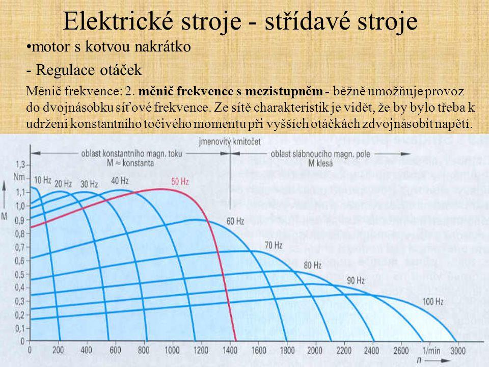 Elektrické stroje - střídavé stroje motor s kotvou nakrátko - Regulace otáček Měnič frekvence: 2. měnič frekvence s mezistupněm - běžně umožňuje provo