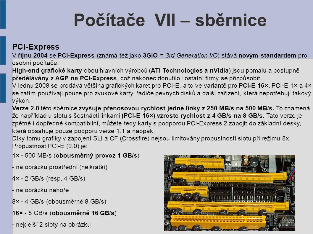 PCI-Express V říjnu 2004 se PCI-Express (známá též jako 3GIO = 3rd Generation I/O) stává novým standardem pro osobní počítače. High-end grafické karty