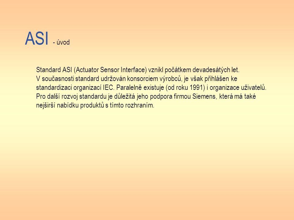 ASI - úvod Standard ASI (Actuator Sensor Interface) vznikl počátkem devadesátých let. V současnosti standard udržován konsorciem výrobců, je však přih