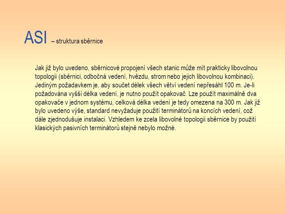 ASI – struktura sběrnice Jak již bylo uvedeno, sběrnicové propojení všech stanic může mít prakticky libovolnou topologii (sběrnici, odbočná vedení, hvězdu, strom nebo jejich libovolnou kombinaci).