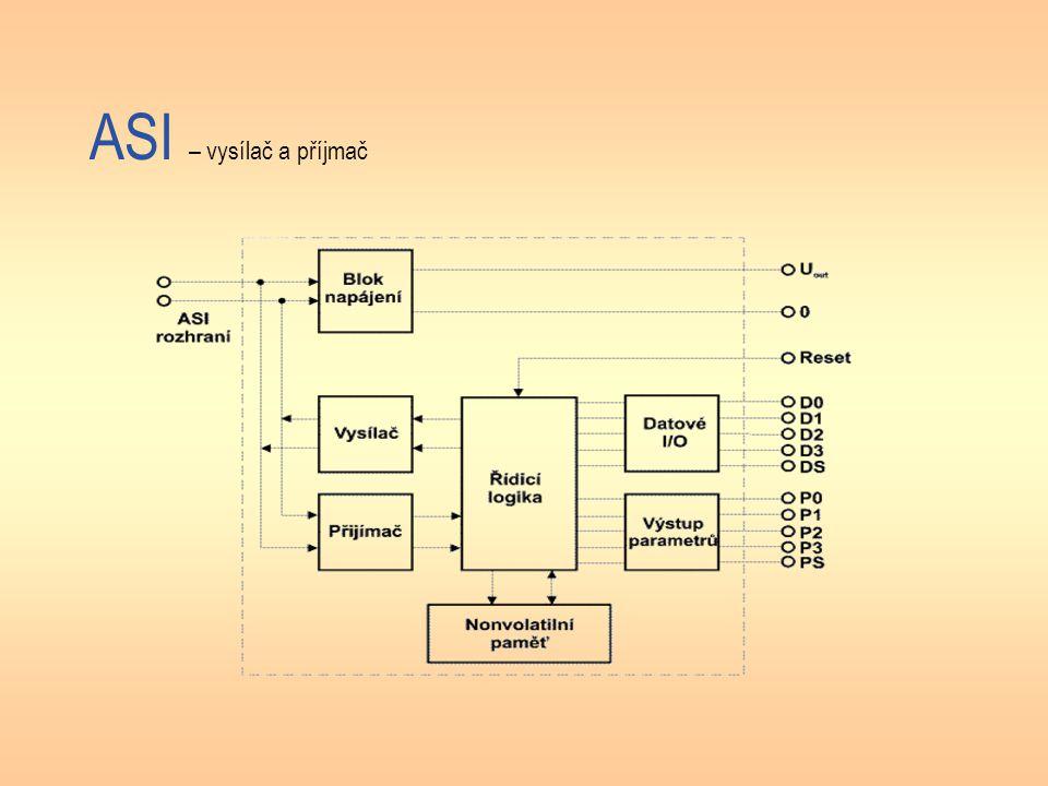 ASI – vysílač a příjmač (popis) Jak je zřejmé z obrázku, obvod poskytuje napájecí napětí pro senzory a akční členy, avšak při vyšších požadavcích na odebíraný proud musí být k dispozici zvláštní napájení.