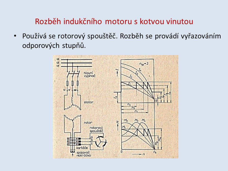 Rozběh indukčního motoru s kotvou vinutou Používá se rotorový spouštěč. Rozběh se provádí vyřazováním odporových stupňů.