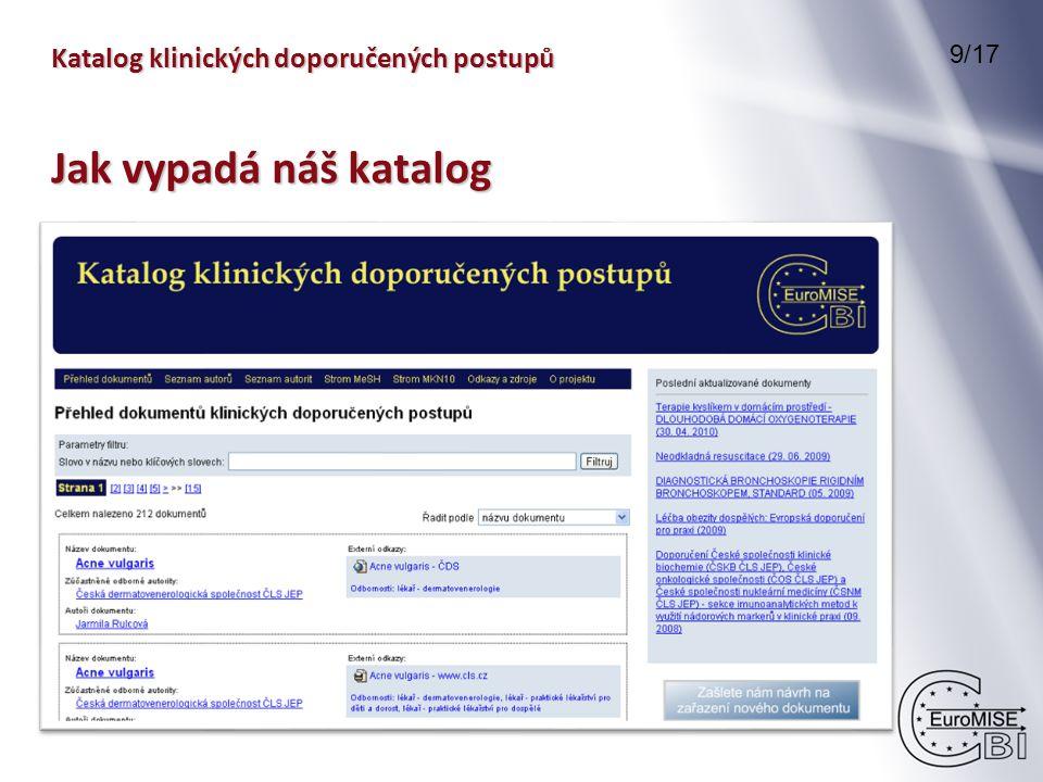 Katalog klinických doporučených postupů 9/17 Jak vypadá náš katalog