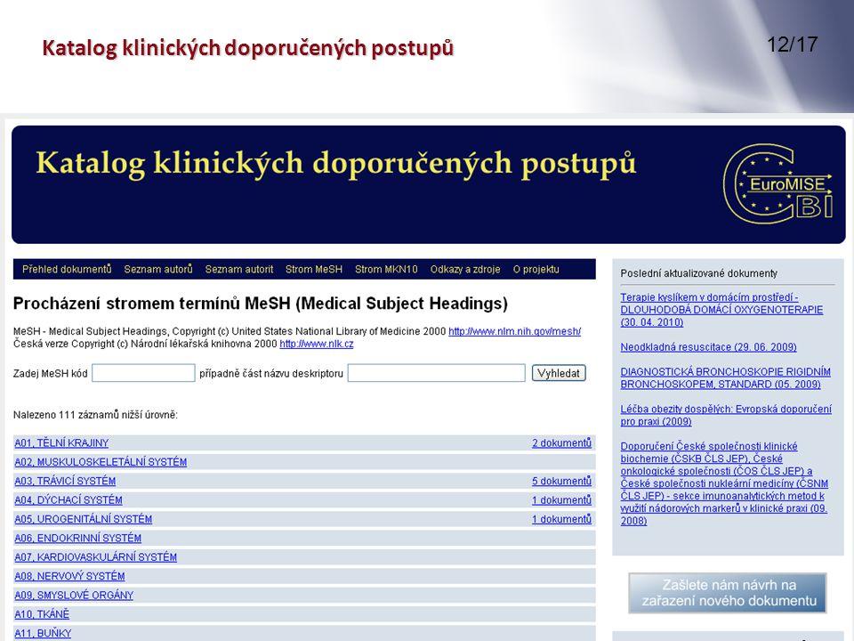 Katalog klinických doporučených postupů 12/17