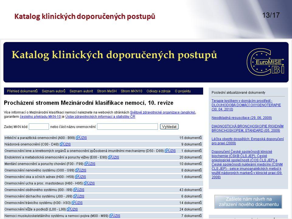 Katalog klinických doporučených postupů 13/17