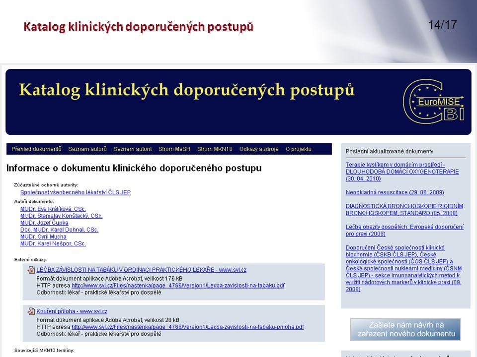 Katalog klinických doporučených postupů 14/17