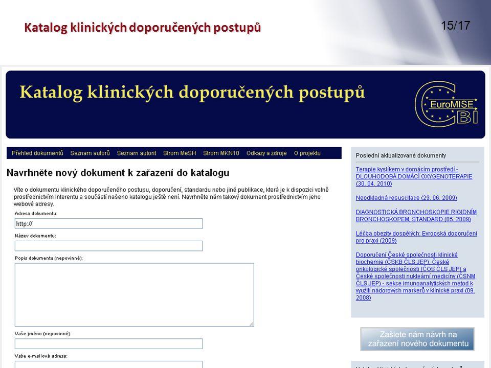 Katalog klinických doporučených postupů 15/17