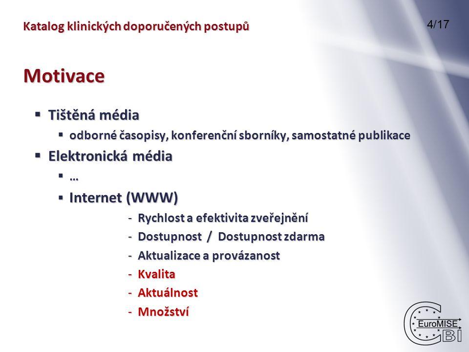 Katalog klinických doporučených postupů  Tištěná média  odborné časopisy, konferenční sborníky, samostatné publikace  Elektronická média  …  Internet (WWW) - Rychlost a efektivita zveřejnění - Dostupnost / Dostupnost zdarma - Aktualizace a provázanost - Kvalita - Aktuálnost - Množství 4/17 Motivace