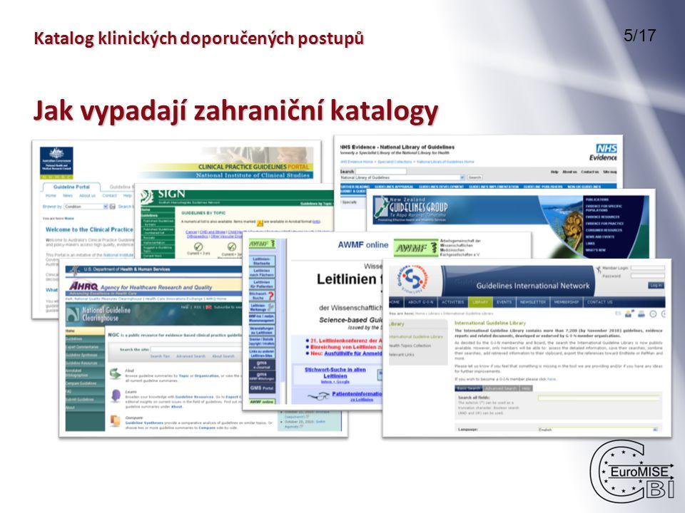 Katalog klinických doporučených postupů 5/17 Jak vypadají zahraniční katalogy