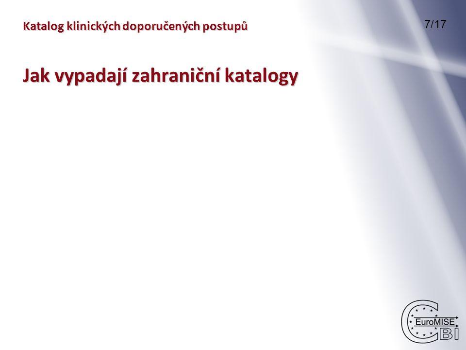 Katalog klinických doporučených postupů 7/17 Jak vypadají zahraniční katalogy