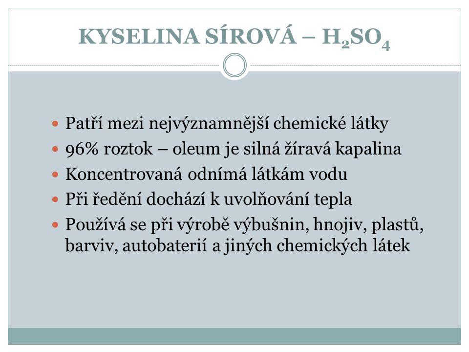 KYSELINA SÍROVÁ – H 2 SO 4 Patří mezi nejvýznamnější chemické látky 96% roztok – oleum je silná žíravá kapalina Koncentrovaná odnímá látkám vodu Při ř