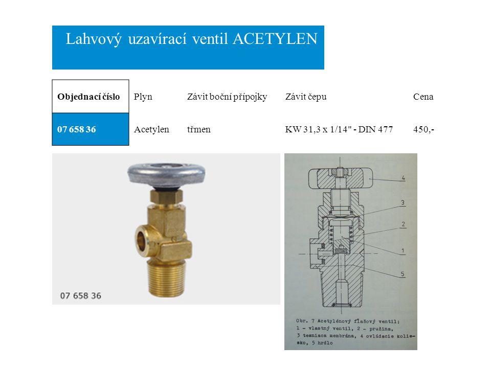Lahvový uzavírací ventil ACETYLEN Objednací čísloPlynZávit boční přípojkyZávit čepuCena 07 658 36AcetylentřmenKW 31,3 x 1/14