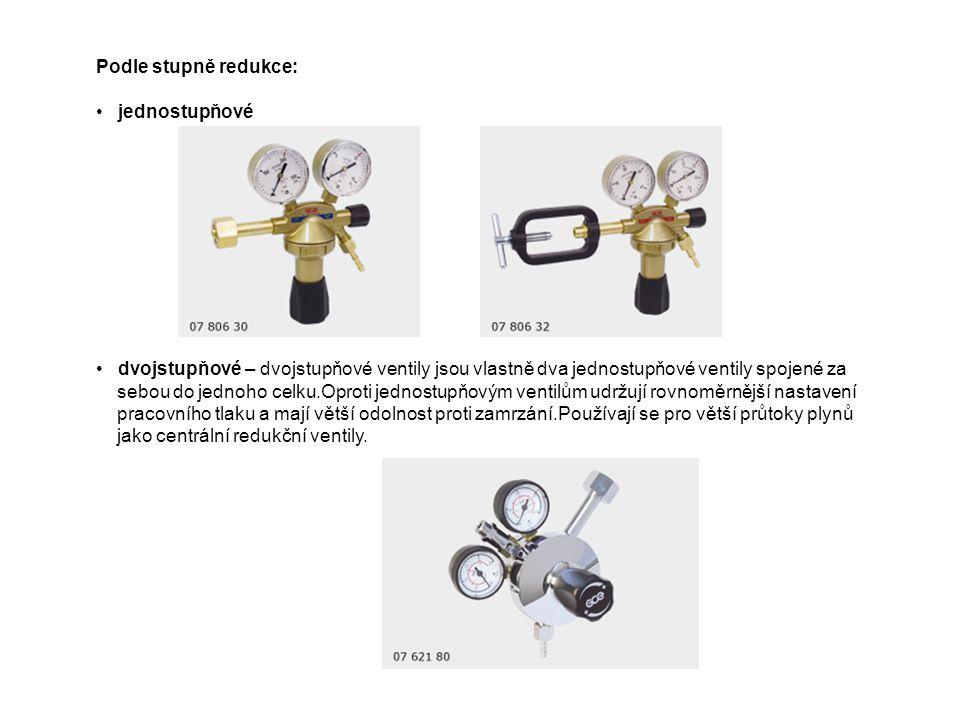 Podle stupně redukce: jednostupňové dvojstupňové – dvojstupňové ventily jsou vlastně dva jednostupňové ventily spojené za sebou do jednoho celku.Oprot