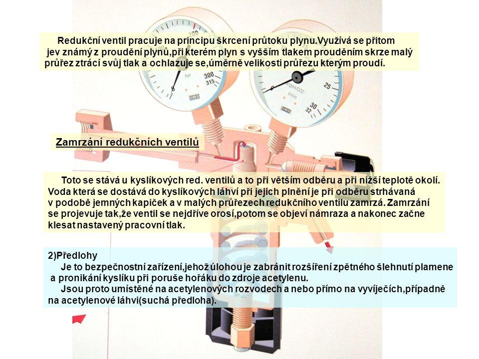 Redukční ventil pracuje na principu škrcení průtoku plynu.Využívá se přitom jev známý z proudění plynů,při kterém plyn s vyšším tlakem prouděním skrze