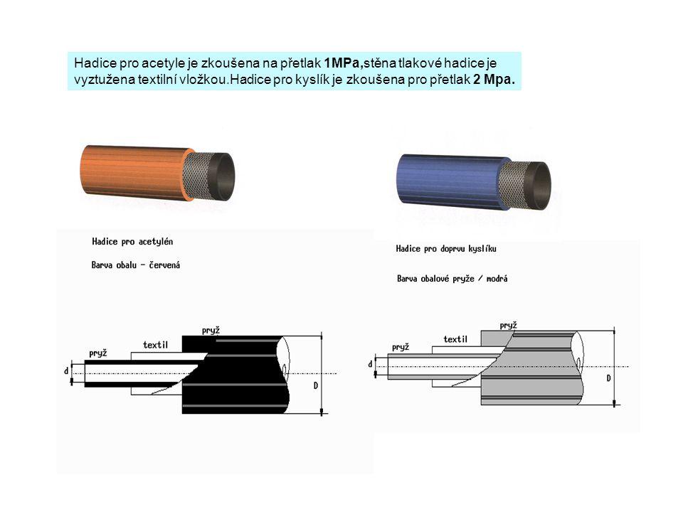 Hadice pro acetyle je zkoušena na přetlak 1MPa,stěna tlakové hadice je vyztužena textilní vložkou.Hadice pro kyslík je zkoušena pro přetlak 2 Mpa.