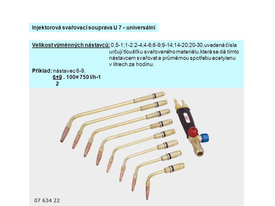 Velikost výměnných nástavců: 0,5-1;1-2;2-4;4-6;6-9;9-14;14-20;20-30,uvedená čísla určují tloušťku svařovaného materiálu,která se dá tímto nástavcem sv