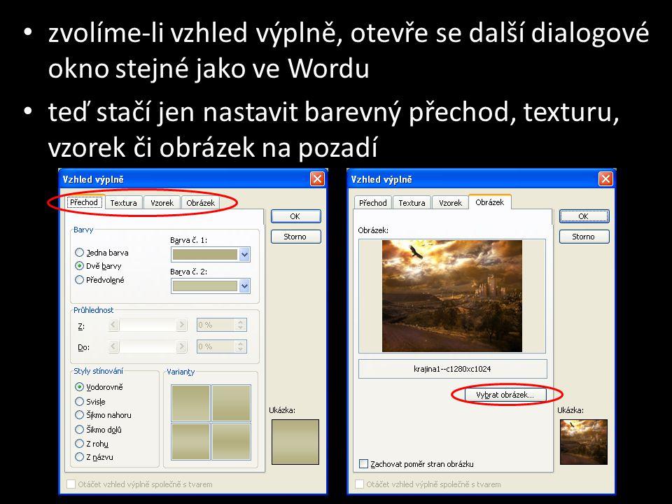 zvolíme-li vzhled výplně, otevře se další dialogové okno stejné jako ve Wordu teď stačí jen nastavit barevný přechod, texturu, vzorek či obrázek na pozadí