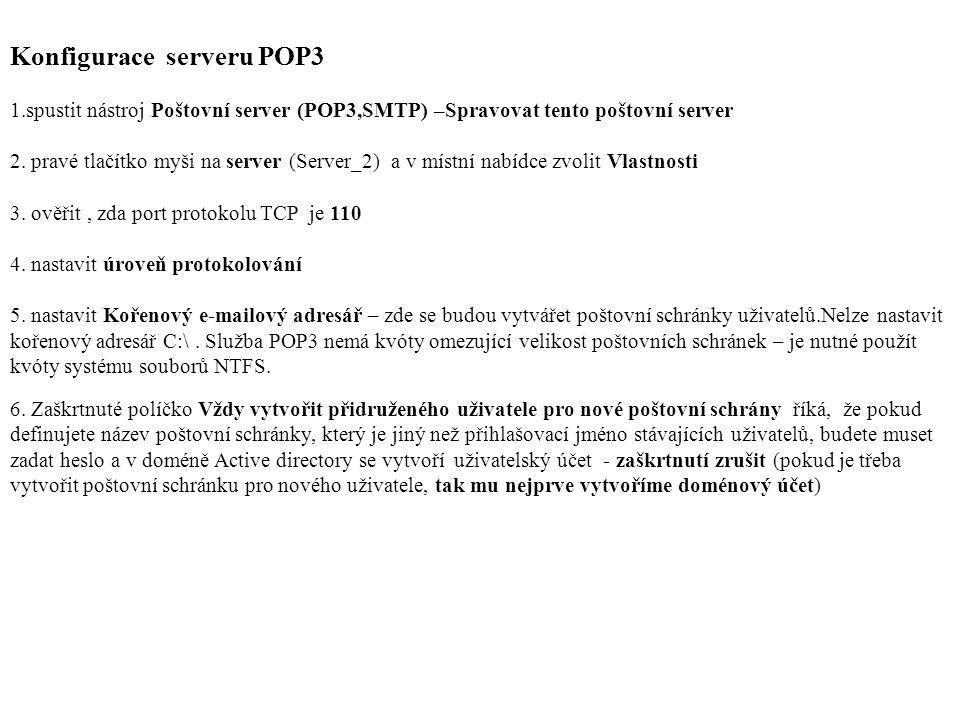 Konfigurace serveru POP3 1.spustit nástroj Poštovní server (POP3,SMTP) –Spravovat tento poštovní server 2. pravé tlačítko myši na server (Server_2) a