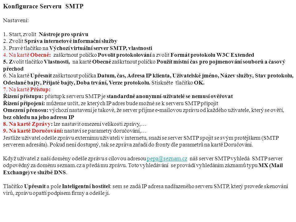 Konfigurace Serveru SMTP Nastavení: 1. Start, zvolit Nástroje pro správu 2. Zvolit Správa internetové informační služby 3. Pravé tlačítko na Výchozí v