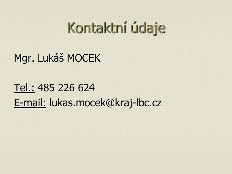 Kontaktní údaje Mgr. Lukáš MOCEK Tel.: 485 226 624 E-mail: lukas.mocek@kraj-lbc.cz