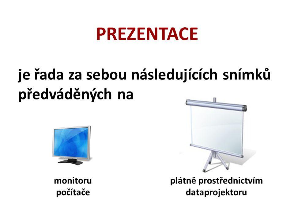 je řada za sebou následujících snímků předváděných na PREZENTACE monitoru počítače plátně prostřednictvím dataprojektoru