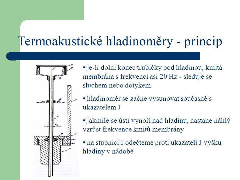Termoakustické hladinoměry - princip je-li dolní konec trubičky pod hladinou, kmitá membrána s frekvencí asi 20 Hz - sleduje se sluchem nebo dotykem h