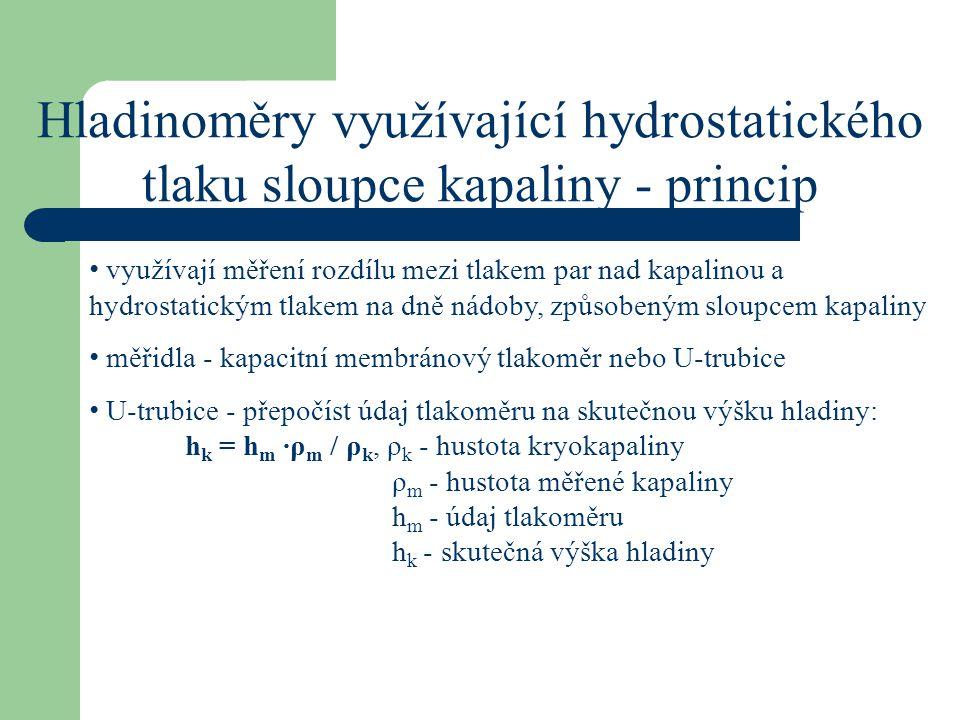 Hladinoměry využívající hydrostatického tlaku sloupce kapaliny - princip využívají měření rozdílu mezi tlakem par nad kapalinou a hydrostatickým tlake