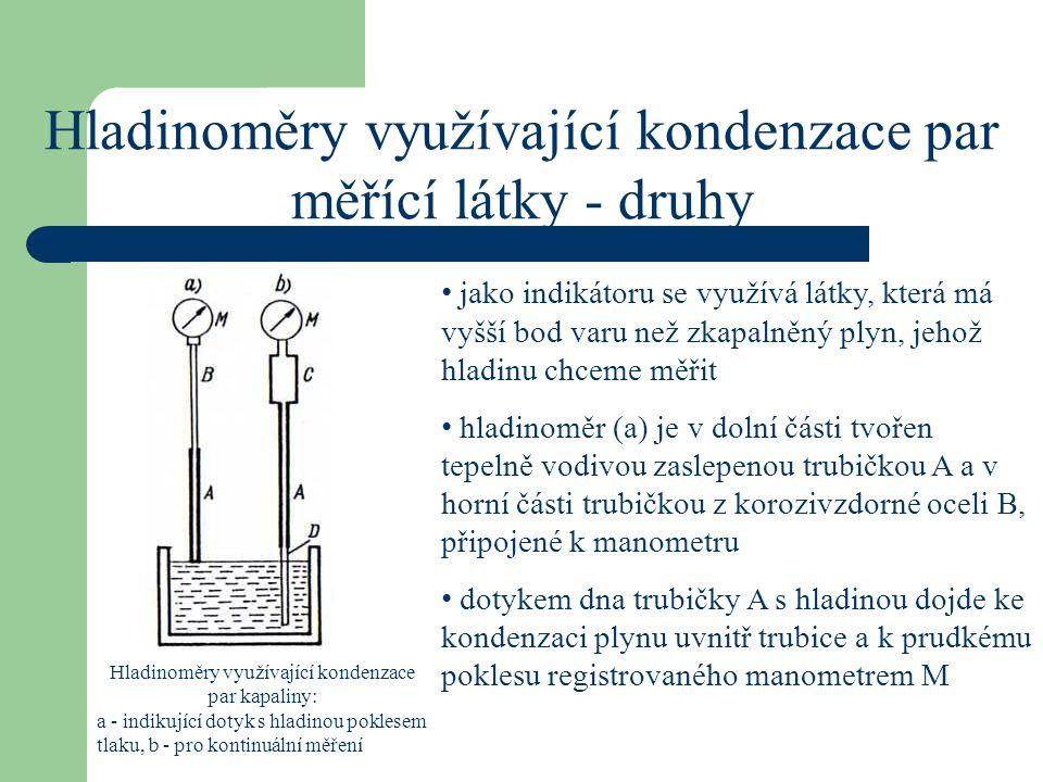 Hladinoměry využívající kondenzace par měřící látky - druhy jako indikátoru se využívá látky, která má vyšší bod varu než zkapalněný plyn, jehož hladi