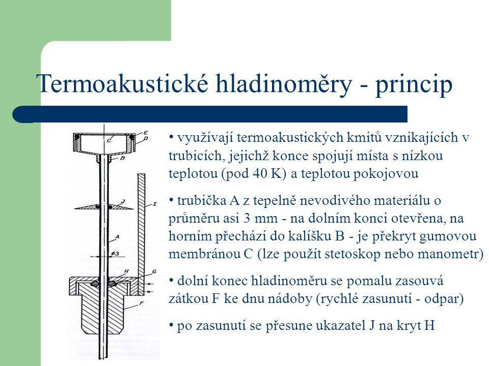 Termoakustické hladinoměry - princip je-li dolní konec trubičky pod hladinou, kmitá membrána s frekvencí asi 20 Hz - sleduje se sluchem nebo dotykem hladinoměr se začne vysunovat současně s ukazatelem J jakmile se ústí vynoří nad hladinu, nastane náhlý vzrůst frekvence kmitů membrány na stupnici I odečteme proti ukazateli J výšku hladiny v nádobě