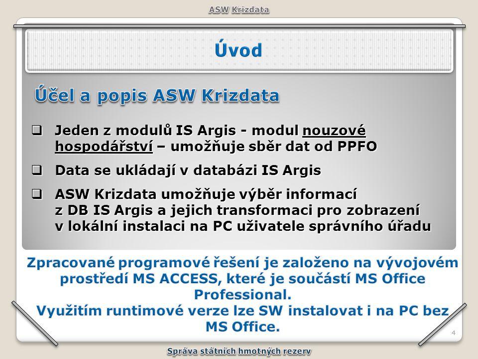 44  Jeden z modulů IS Argis - modul nouzové hospodářství – umožňuje sběr dat od PPFO  Data se ukládají v databázi IS Argis  ASW Krizdata umožňuje v