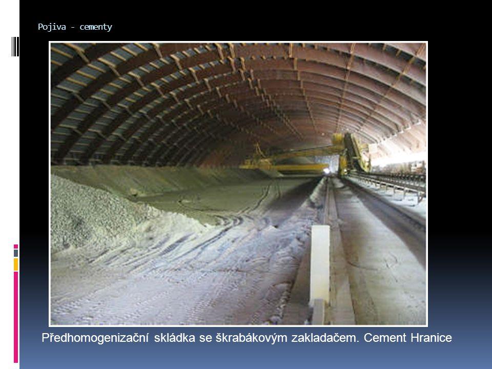 Pojiva - cementy Předhomogenizační skládka se škrabákovým zakladačem. Cement Hranice
