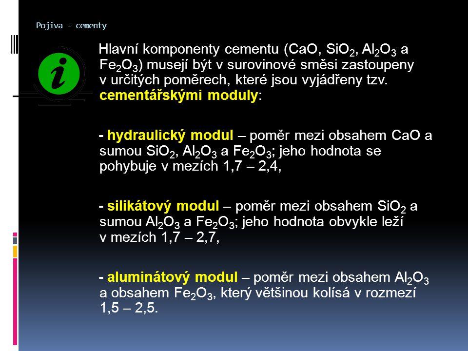 Pojiva - cementy Hlavní komponenty cementu (CaO, SiO 2, Al 2 O 3 a Fe 2 O 3 ) musejí být v surovinové směsi zastoupeny v určitých poměrech, které jsou