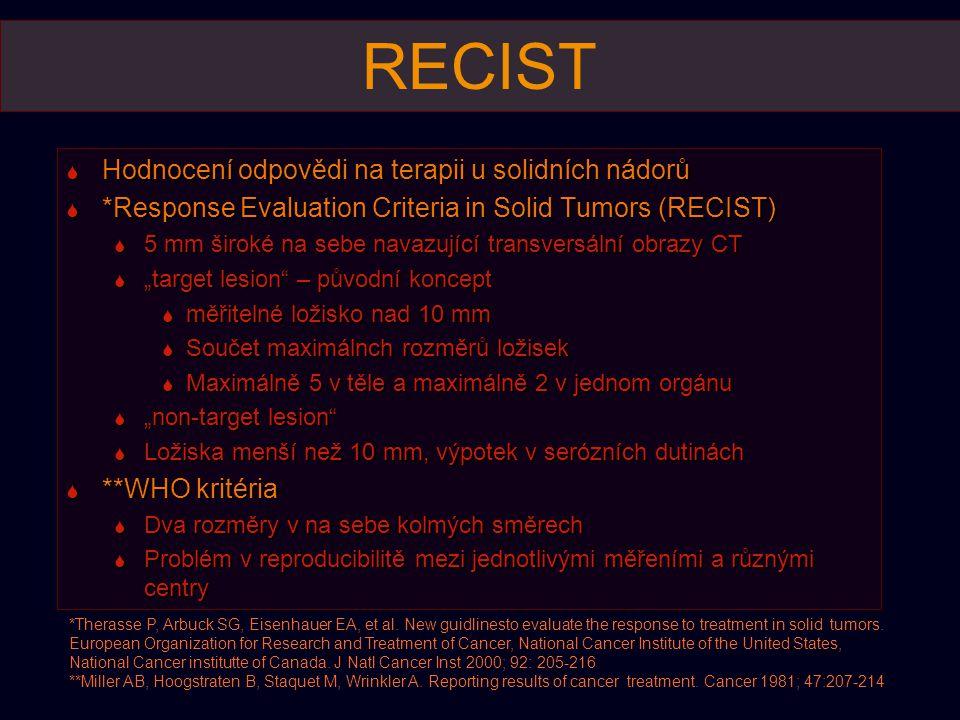 Chemoembolizace  K posouzení účinku v delším časovém odstupu postačí dvoufázové CT, výhodou je DECT s analýzou distribuce jódu - odlišení hemorhagické nekrózy a residua nebo rekurence nádorové tkáně
