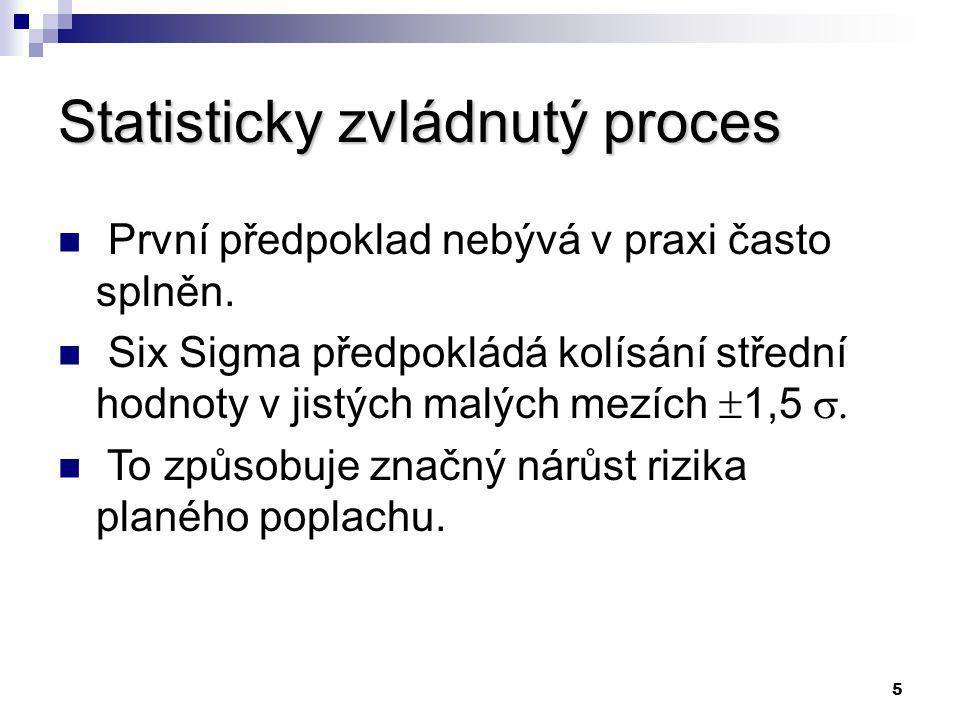 5 Statisticky zvládnutý proces První předpoklad nebývá v praxi často splněn.
