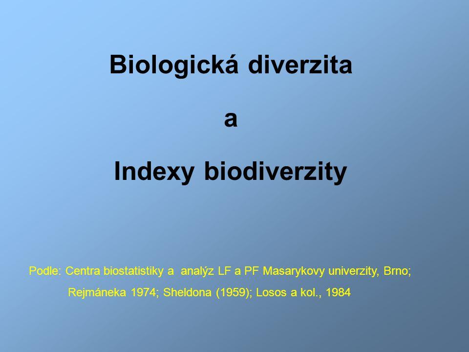 Podle: Centra biostatistiky a analýz LF a PF Masarykovy univerzity, Brno; Rejmáneka 1974; Sheldona (1959); Losos a kol., 1984 Biologická diverzita a I