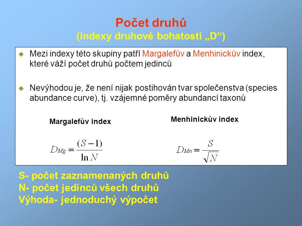 """Počet druhů (indexy druhové bohatosti """"D"""")  Mezi indexy této skupiny patří Margalefův a Menhinickův index, které váží počet druhů počtem jedinců  Ne"""