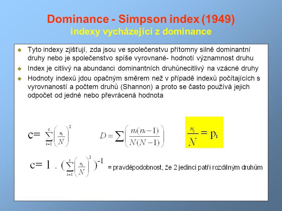 Dominance - Simpson index (1949) indexy vycházející z dominance  Tyto indexy zjišťují, zda jsou ve společenstvu přítomny silně dominantní druhy nebo