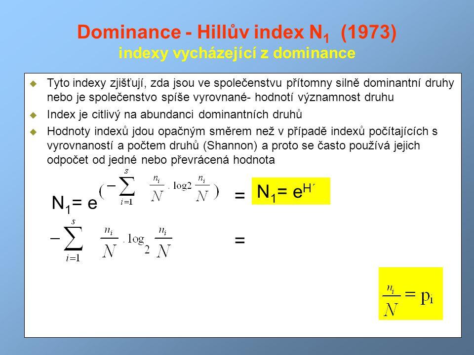 Dominance - Hillův index N 1 (1973) indexy vycházející z dominance H´- Shannonův index diverzity  Tyto indexy zjišťují, zda jsou ve společenstvu přít