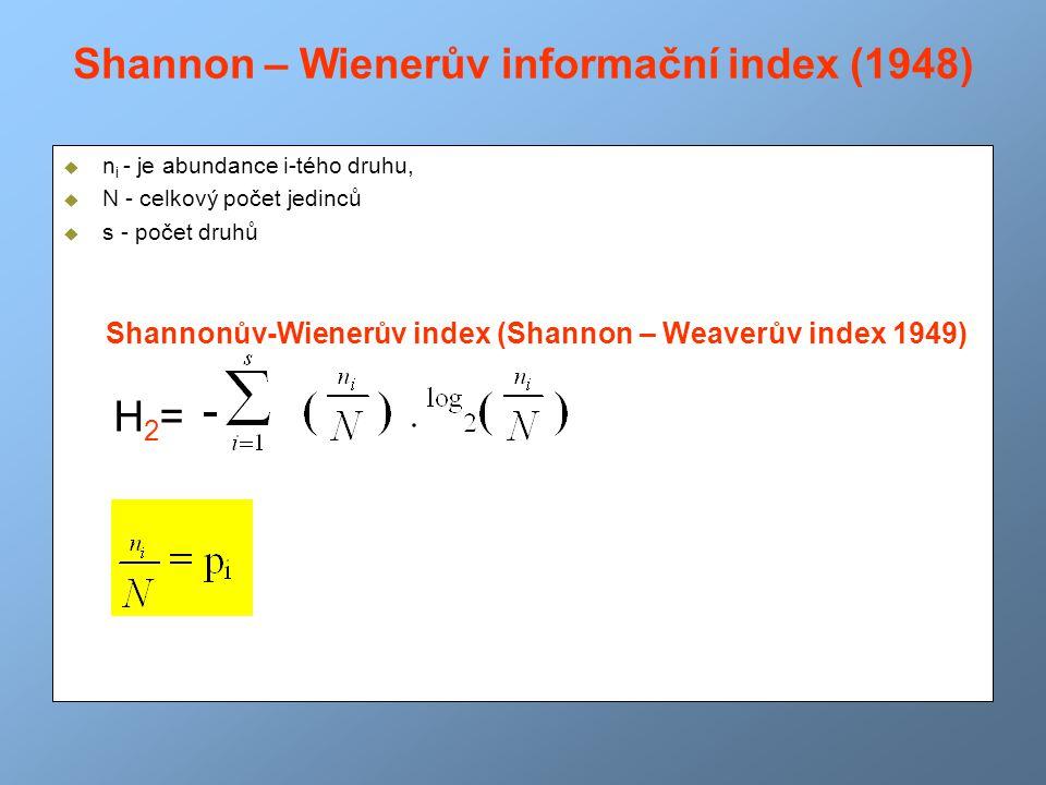 Shannon – Wienerův informační index (1948)  n i - je abundance i-tého druhu,  N - celkový počet jedinců  s - počet druhů Shannonův-Wienerův index (