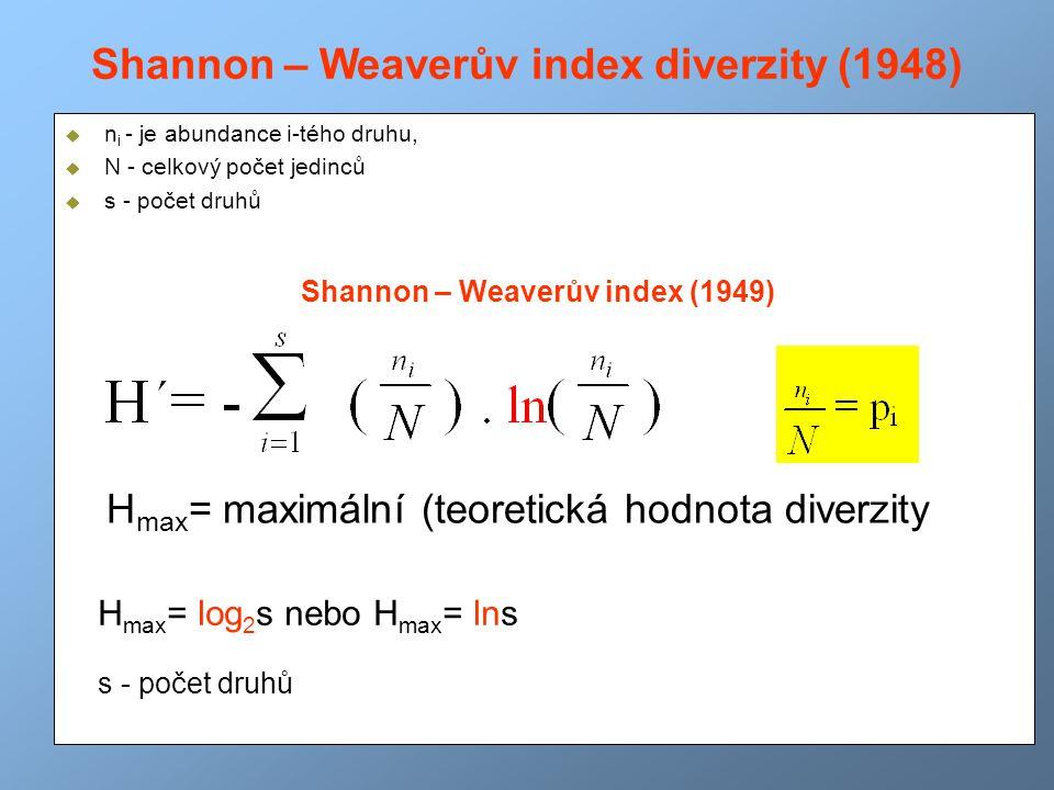 Shannon – Weaverův index diverzity (1948)  n i - je abundance i-tého druhu,  N - celkový počet jedinců  s - počet druhů Shannon – Weaverův index (1