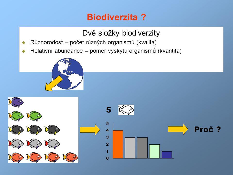Biodiverzita ? Dvě složky biodiverzity  Různorodost – počet různých organismů (kvalita)  Relativní abundance – poměr výskytu organismů (kvantita) 5