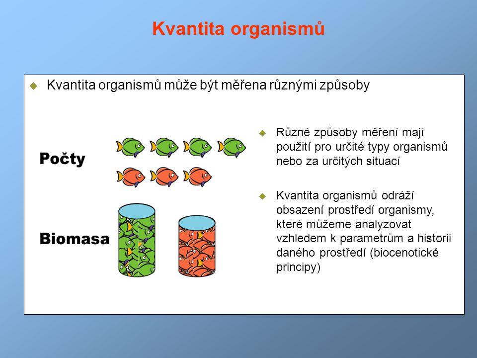  Kvantita organismů může být měřena různými způsoby  Různé způsoby měření mají použití pro určité typy organismů nebo za určitých situací  Kvantita