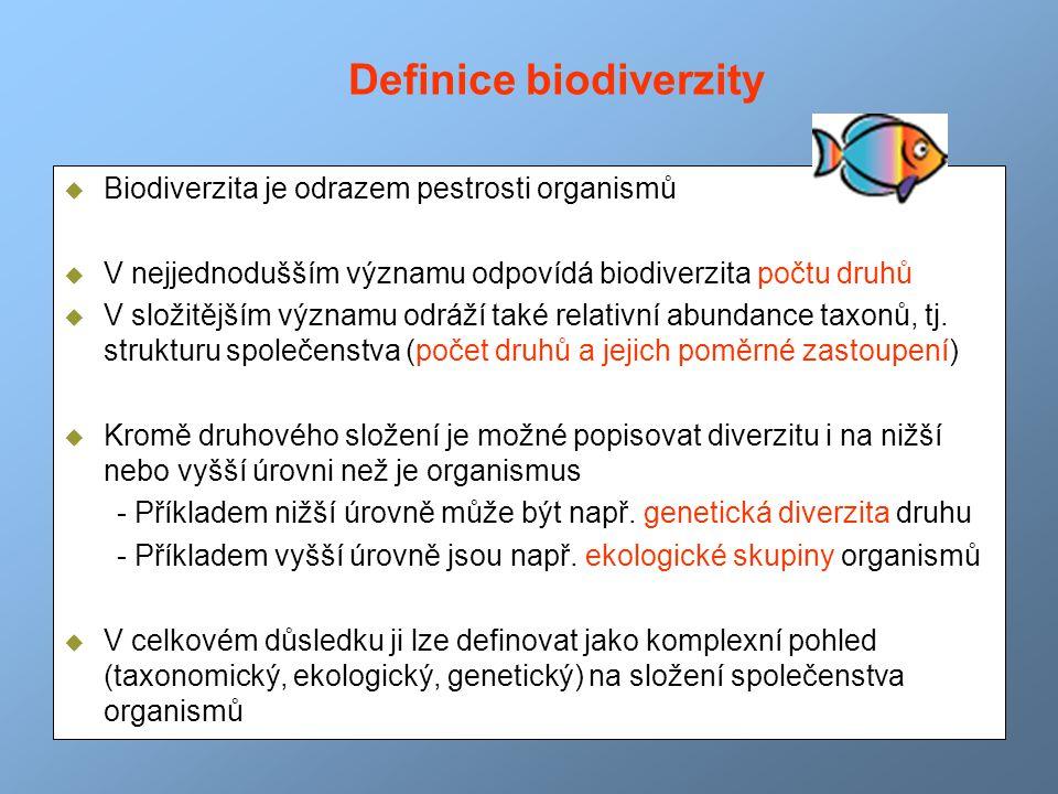  Biodiverzita je odrazem pestrosti organismů  V nejjednodušším významu odpovídá biodiverzita počtu druhů  V složitějším významu odráží také relativ