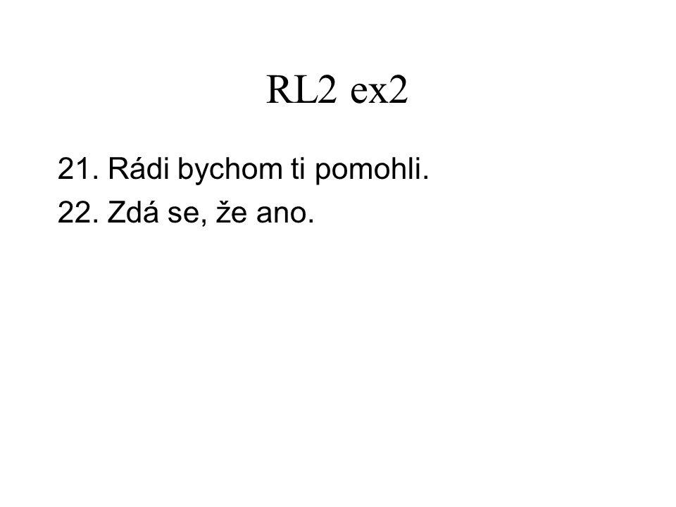 RL2 ex2 21. Rádi bychom ti pomohli. 22. Zdá se, že ano.