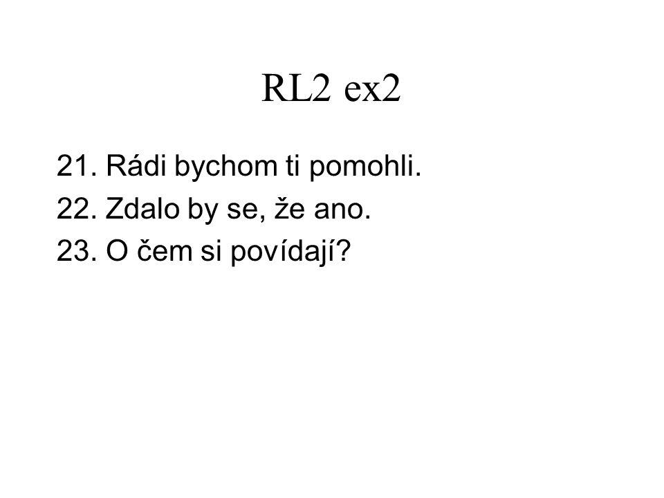 RL2 ex2 21. Rádi bychom ti pomohli. 22. Zdalo by se, že ano. 23. O čem si povídají